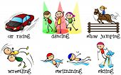 Illustration of the different physical activities on a white background