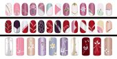 picture of nail-art  - Colorful manicure polish design on acrylic surface material - JPG