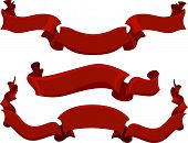 Illustration Featuring Three Red Ribbons of Varying Lengths