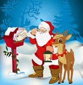 stock photo of rudolph  - Santa Claus gets his mail from his mail box in the north pole before christmas eve - JPG