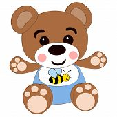 Vector illustration a children's toy bear isolated on a white background