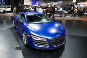LOS ANGELES, CA - NOVEMBER 20: An Audi R8 on exhibit at the Los Angeles Auto Show in Los Angeles, CA
