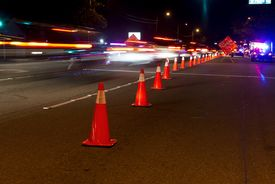 picture of designated driver  - Traffic cones and traffic at a DUI check point in Anaheim - JPG