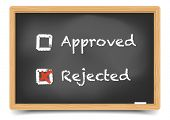 detailed illustration of checkboxes with approved and rejected options on a blackboard, eps10 vector