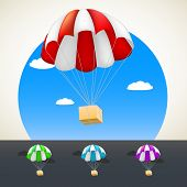 stock photo of parachute  - Parachute with sending - JPG
