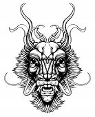 picture of lithographic  - An original illustration of a dragon or monster head in a dynamic woodblock style - JPG