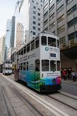 HONG KONG - NOVEMBER 14, 2012: Hong Kong Tramways is a tram system in Hong Kong, being one of the earliest forms of public transport in city, one of the main tourist attractions.Began operation 1904.