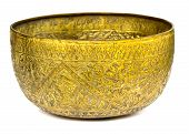 Old Antique Vintage Bronze, Brass Bowl, Isolated On White Background