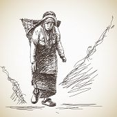 Nepalese woman carries a basket on her head in the traditional way. Hand drawn illustration