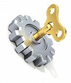 Clockwork key in the gear