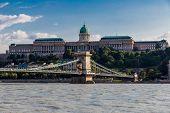 The Szechenyi Chain Bridge And Buda Castle, St. Matthia In Budapest