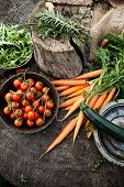 image of wooden basket  - Fresh organic vegetables - JPG