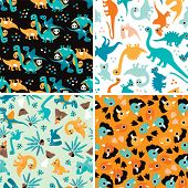 Seamless baby Dinosaur kids animal illustration background pattern in vector