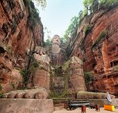 Largest buddha statue in the world in Leshan,China.