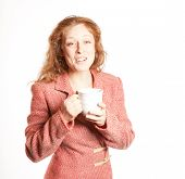 Redhead Woman With Coffe Cup