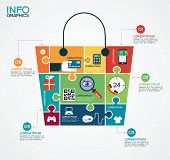 E-commerce infographic Template with bag, puzzle and interface icons . Concept add to bag. Set of modern design icons in flat design with trendy colors for web and apps. E-commerce background