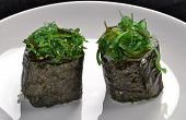 Algae sushi roll.Japanese food.
