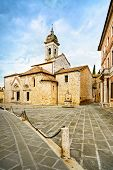 San Quirico Collegiata Church And Medieval Square. Val D Orcia, Tuscany, Italy