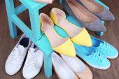 Shoe shelf with women shoes close up