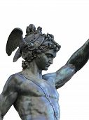 image of perseus  - Detail of statue of Perseus holding the head of Medusa on white background Florence Italy - JPG