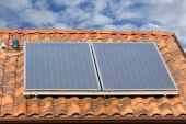 image of hot water  - solar panel used for hot water production - JPG