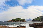 Corcovado Sugarloaf View From  Piratininga Beach Rio De Janeiro