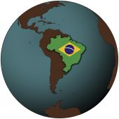 foto of brazil carnival  - brazil flag on map of earth globe - JPG