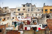Tangier, Morocco. Old Colorful Living Houses Of Medina