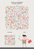 Vector set - alphabet: seamless background, constructor