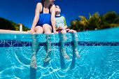 Split above and underwater photo of mother and son relaxing near a swimming pool