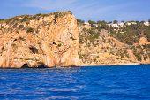 Javea playa Ambolo isla Descubridor Xabia in Alicante Mediterranean Spain