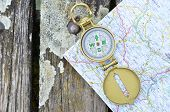 foto of longitude  - Compass and map - JPG