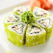 Maki Sushi - Rolls with Fried Tuna, Cucumber and Cream Cheese inside. Tobiko outside
