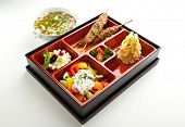 Japanese Meal in a Box - Salad, Skewered Meat and Mashed Potato and Dessert