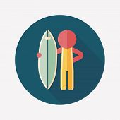 picture of hydroplanes  - Surfing Flat Icon With Long Shadow - JPG