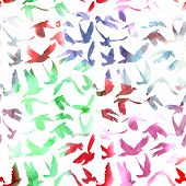 Watercolor Doves And Pigeons Seamless Pattern On White Background