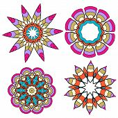 Set Of Lace Floral Colorful Ethnic Ornament