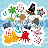 Happy Birthday Card Pirate. Cute Party Invitation Animals Design. Vector