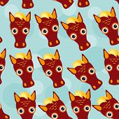 picture of horse face  - Horse Seamless pattern with funny cute animal face on a blue background - JPG