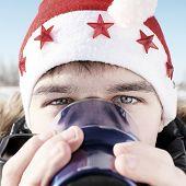 Teenager In Santa Hat