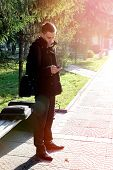 Young Man With Cellphone Outdoor
