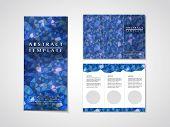 Blue Mosaic Background Design For Tri-fold Brochure