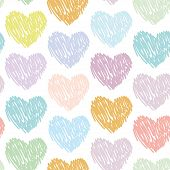 Seamless Pattern With Sketch Hearts On A White Background. Pastel Color. Pink, Blue, Green, Orange,