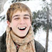 Happy Teenager In Winter