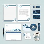 Abstract Paper Folded Pattern Background For Corporate Identity Set