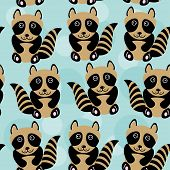 Raccoon Seamless Pattern With Funny Cute Animal On A Blue Background