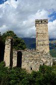 Famous Medieval Georgian Village With Tribal Fortified Tower,mestia Village,svanetia, Georgia
