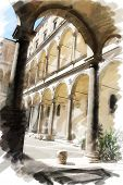 art watercolor background isolated on white basis with european antique town, Italy, Rome. Patio