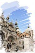 art watercolor background isolated on white basis with facade of St Mark's basilica in Venice, Italy