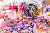 pic of arts crafts  - Scrapbooking craft materials in a glass bottle - JPG